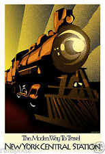 Vintage Art Deco New York Central StationTrain Poster/Print/Travel Poster/Repro.