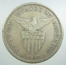 PHILIPPINES USA 1 PESO 1907 S SILVER CROWN AMERICA EAGLE 18# WORLD MONEY COIN