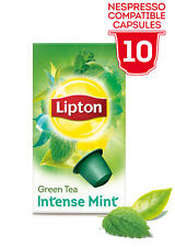LIPTON Nespresso TEA 80 X Capsules /Pods/Caps (8 X Boxes) GREEN TEA INTENSE MINT