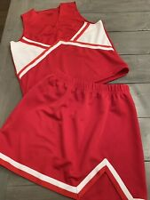 Adult Cheerleading uniform costume cosplay Skirt Top Real Authentic Red White M