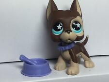 Littlest Pet Shop GREAT DANE Dog #817  & 3 ACCESSORIES-Collar-Dog Bowl-bone