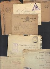 Uk Gb Military 1918 Wwi Coll Of 7 Soldier Mail 3 Cvrs 1 Card & 3 Fronts Some W/