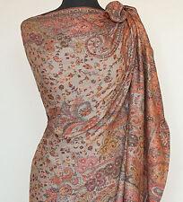 Large Hand-Cut Kani Jamavar Wool Paisley Shawl Fine Details  India Jamawar Wrap