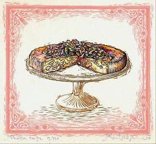 Food RICOTTA TORTE CAKE handworked giclee art print