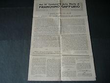 1922 LODI NUMERO SPECIALE PER IL IV CENTENARIO DELLA MORTE DI FRANCHINO GAFFURIO