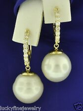 0.55 ct 14k Yellow Gold Natural White South Sea Pearl & Diamond Earring huggie