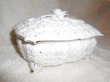 Vntg~Antq LG.White Italian Porcelain Rose Capodimonte 4-Ftd Covered Vanity Box