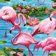 Fabric Flamingo's on Blue Water Pink Flowers on Cotton by the 1/4 yard BIN