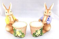 Partylite Bertie & Bea Bunnies Ceramic Votive/tealight Holders P7735