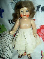 Sweet antique German jointed all bisque dollhouse doll, sleep eyes, original wig