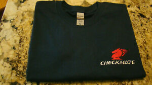 Checkmate Knight Boat Logo Navy Long Sleeve Large T-Shirt New Embroidered