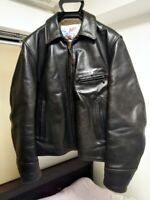 Aero LEATHER Co Authentic Steerhide Single Riders Jacket Black Size 38 Used