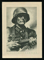 WW2 WWII Germany 3rd Reich Postcard Hitler German Army Wehrmacht Soldier 1940s