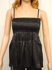 Ladies Black Crinkle Satin Sleeveless Camisole Top Size 10 Womens Babydoll BNWT