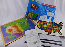 Vtg 1988 Sharin Magic Magnets United States Map Puzzle New Home School Geography