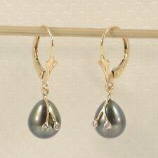 14k Yellow Gold Sparkling Diamond; Black Cultured Pearl Leverback Earrings TPJ
