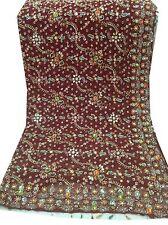 Om Antique Vintage Indian Dupatta Bridal Maroon Hand Beaded Veil Scarves,AD-1783