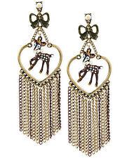 Betsey Johnson WOODLAND Deer Heart Multi-Chain Fringe Chandelier Earrings NEW