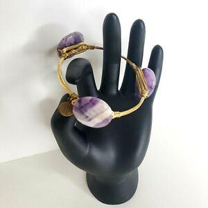 Bourbon and Boweties Purple White Quartz Stone Bracelet Bangle Gold Tone Wire