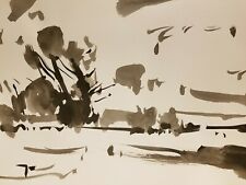 JOSE TRUJILLO Impressionism Black INK WASH on Paper Collectible Art Piece SIGNED