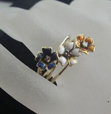 14k Three Flowers Motif Enameling Accents Gems Lovely Ladies Ring Sz.9