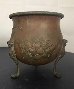 VTG  Ornate Footed Metal Brass Copper?Planter Cauldron Brutalist  Gargoyle Verd