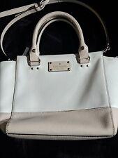 Kate Spade Two Tone White Beige Leather Handbag Medium Size  Crossbody Purse