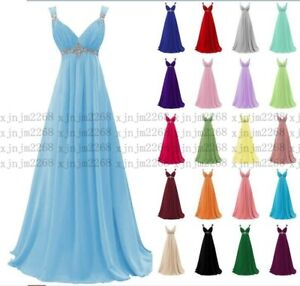Long Chiffon Wedding Evening Formal Party Ball Gown Prom Bridesmaid Dresses 6-30