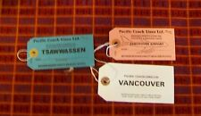 PACIFIC COACH LINES LTD BAGGAGE IDENTIFICATION TAG. VANCOUVER AIRPORT TSAWWASSEN