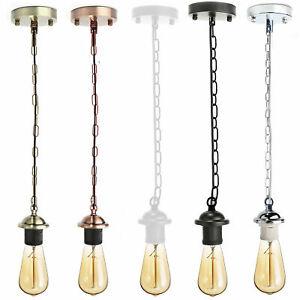 Vintage E27 Ceiling Rose Chain Pendant Chandelier Light Holder Fitting