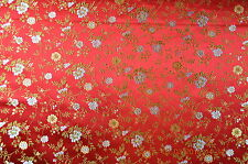 "Chinese brocade (silk blend), 28"", small flower, red,  sold by half meter"
