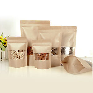 20PCS Kraft Paper Stand Up Bag Seal Packaging Window Sealable Food Pouch