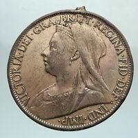 1899 UK Great Britain United Kingdom QUEEN VICTORIA Genuine Penny Coin i80326