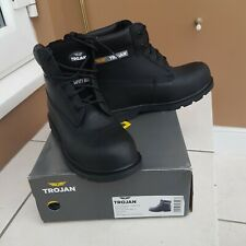 Trojan Castor S3 Black Leather Safety Boots Size UK 10 EUR 44 New In Box