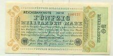 OLD GERMAN REICHSBANKNOTE 50.000.000.000 MARK 1923 Unc
