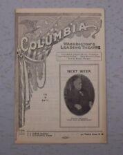 THE COLUMBIA WASHINGTON THEATER PROGRAM 10/09/ 1911 THE OLD HOMESTEAD THOMPSON