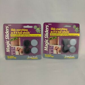 """Magic Sliders 7/8""""-1"""" Round Furniture Legs Glide Grip Tips 22mm-25mm 8ct. Total"""
