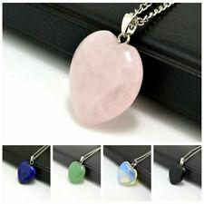 Natural Quartz Stone Gemstone Heart Rock Healing Point Chakra Pendant Necklace @