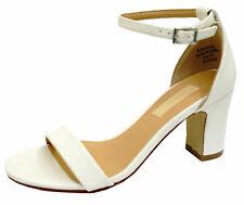 LADIES WHITE ANKLE-STRAP BLOCK HEEL PEEPTOE SANDALS HOLIDAY COMFY SHOES UK 3-8