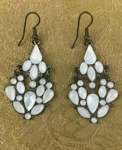 Fashion Articulated Earrings Long Dangle w White Faceted Stones Pierced