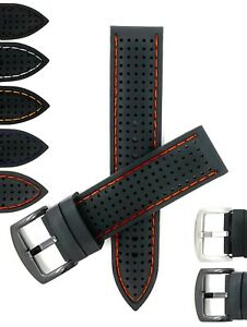 Bandini 22mm Silicone Watch Band, Soft Rubber Strap, Rally, Silver Black Buckle