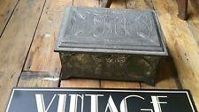 VINTAGE ART NOUVEAU metal casket box chest with key