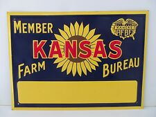 Original Vtg Kansas FB Sign Farm Bureau Ranch Barn Tin Metal Sunflower Sign