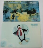 Walmart Gift Card Lenticular LOT of 2 - Penguin Snow Angel, Christmas - No Value