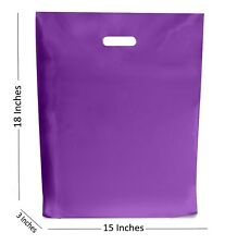10 Large MORADO Bolsas de plástico/boutique regalo tienda Bolsa 15x18+7.6cm