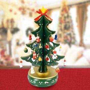 Carillon Natalizio Albero di Natale Legno con Addobbi 29cm Decorazioni Natalizie