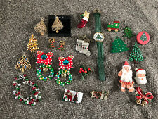 Lot of 20+ Vintage & Other Christmas Brooches Watch Bracelet Earrings
