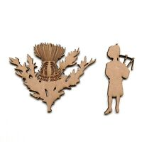 Wooden MDF Scottish Piper Thistle Craft Shapes Wall Art Embellishment Decoration