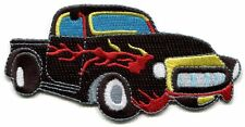 CLASSIC TRUCK black/red flames EMBROIDERED IRON-ON PATCH **FREE SHIPPING c p3784