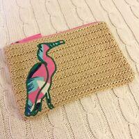Vera Bradley Seashore Zip Pouch Straw Tropical Paradise Beige Beach NWT MSRP $24